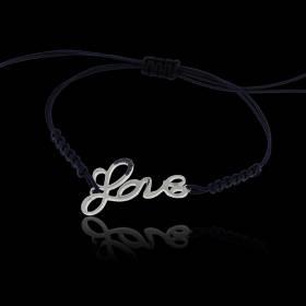 "Bracelet Silver 950, WgPt,Blue Sapphires,0.01ct x 7d,Naylon Bracelet Blue,Lucky Jewel 2016, ""LOVE"""